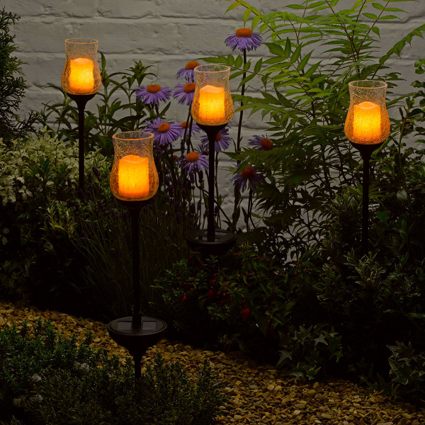 Solar Powered Flickering Glass Candle Lights - PK2