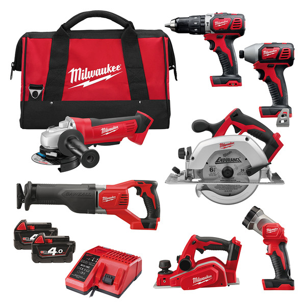 Milwaukee 7 Piece 4AH Power Tool Kit M18 BPP7A-402