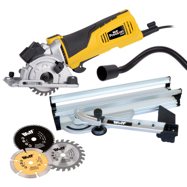 Wolf 600w 89mm Precision Plunge Saw and Mitre Base