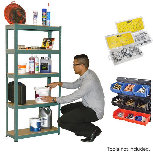 Wolf 5 Tier Shelving & Storage Bins, Hose Clamps, Washers