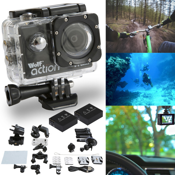 Wolf Action 4K UltraHD Action Camera with with 2 Batteries