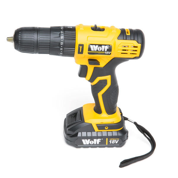 Wolf 18v Lithium Ion Combi Drill & 40pc Tool Set