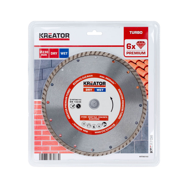Kreator 230mm Diamond Angle Grinder Disc Turbo KRT083102