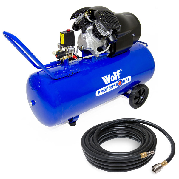 Wolf Professional Cheyenne 100L Air Compressor c/w 10m Rubber Air Hose