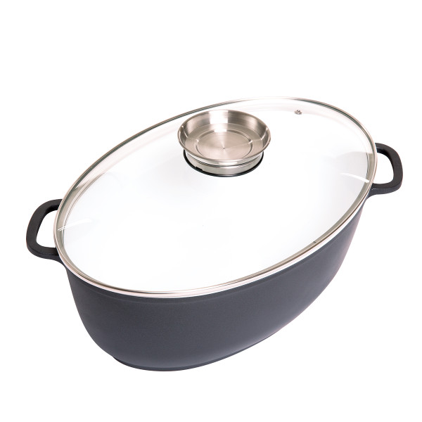 8 Litre Oval Ceramic Coated Cooking Pan with Aroma Lid