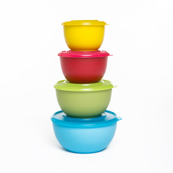 Mixed Colour Food Storage Bowls - Pack of 4