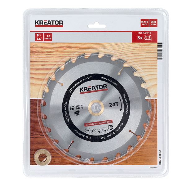 Kreator Saw Blade Wood 210x30x2.2mm 24T KRT020420
