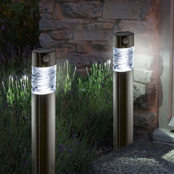 Solar Powered Pharos Bollard With PIR - Pack of 2
