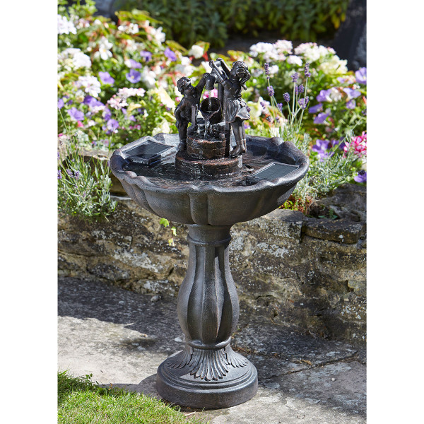 Solar Powered Tipping Pail Fountain