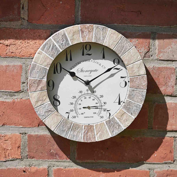 "10"" Stonegate Wall Clock & Thermometer"