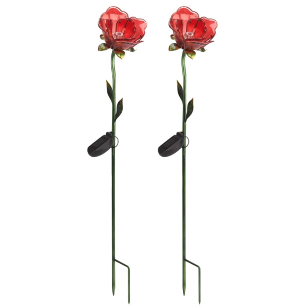 Red Rose Solar Flower - Pack of 2
