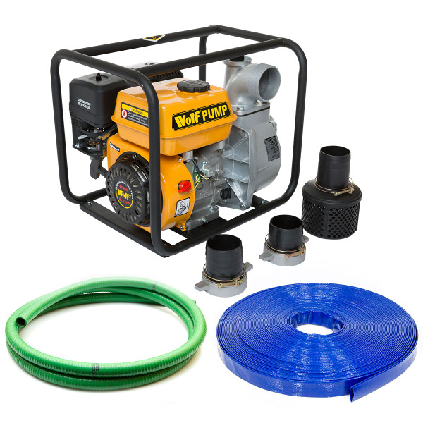 "Wolf 3"" Water Pump & 5m 2"" Suction Hose & 10m 2"" Delivery Hose"