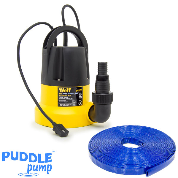 Wolf 400w Water Puddle Pump with 10m Delivery Hose