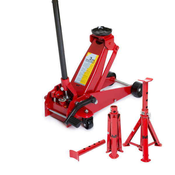 Wolf 3 TONNE Garage Jack with Quick Lift & Axle Stands
