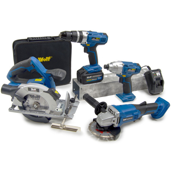 Wolf Professional 20v 4pc Power Tool Kit with 2 Batteries & Charger