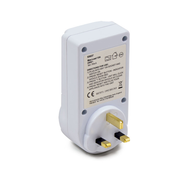 RCD Adaptor 13A 13-30mA BS 7071
