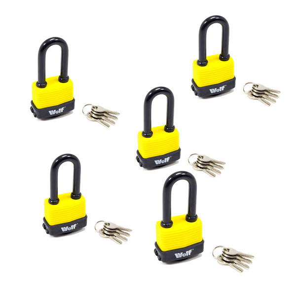 Wolf Heavy Duty 50mm Padlock with Long Shackle - Pack of 5