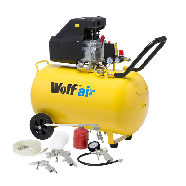 Wolf Sioux 100L Air Compressor 116psi 9.1cfm W/ 5pc Air Tool Kit