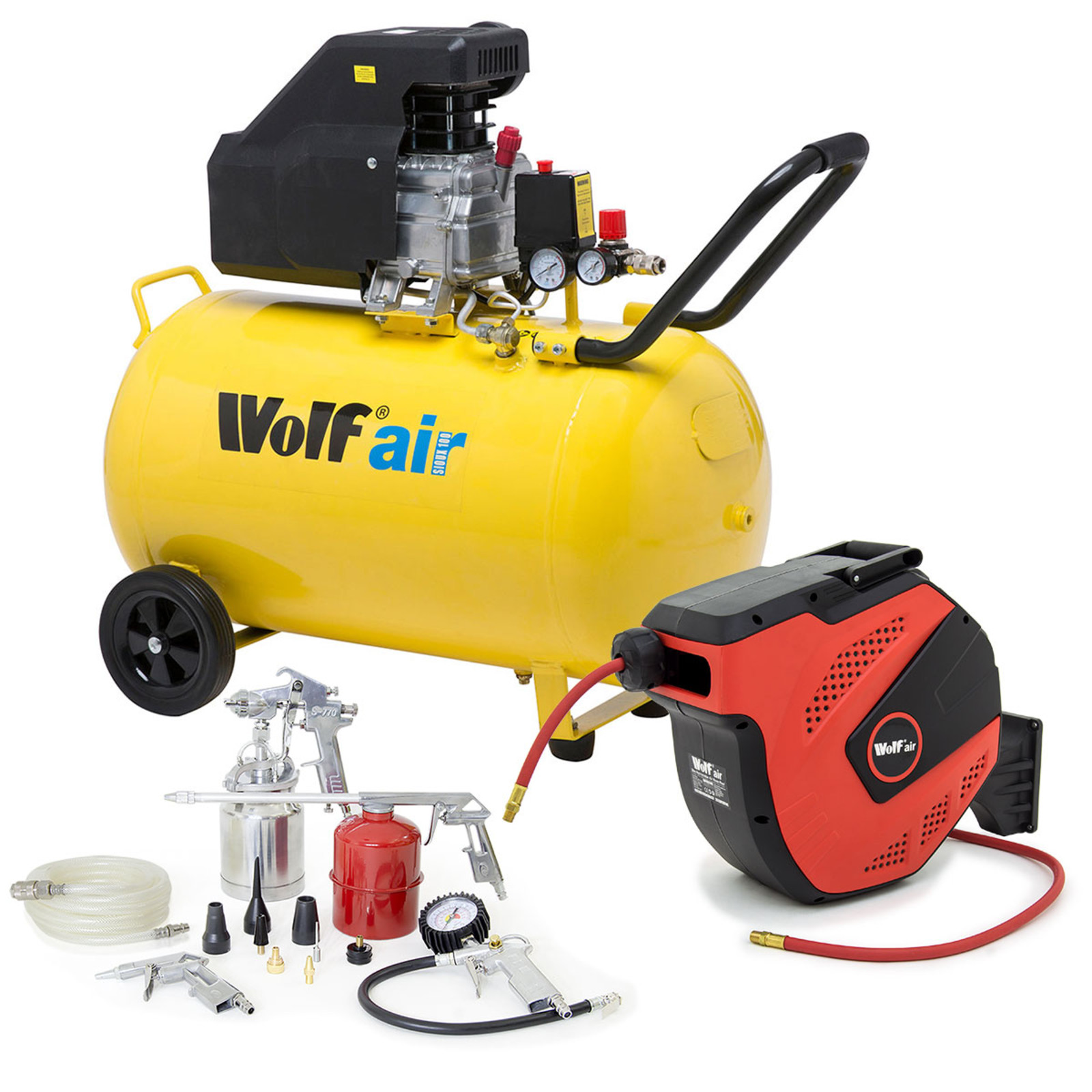Wolf Sioux 100L Air Compressor 9 6cfm with Air Tool Kit and 20m Hose Reel
