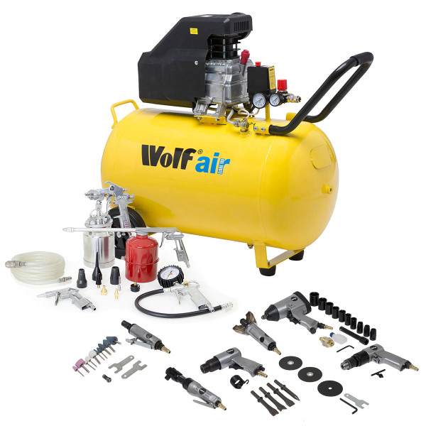 Wolf Sioux 100L Air Compressor 9.6cfm with 19pc Air Tool Kit