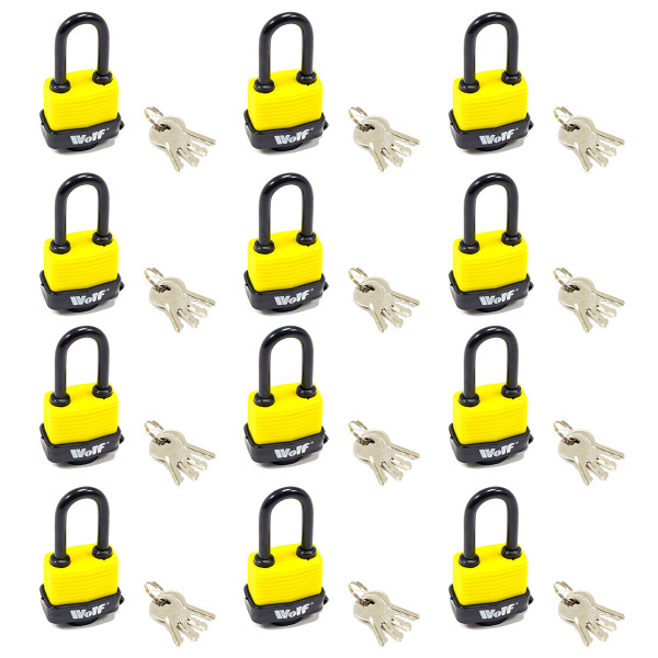 Wolf Heavy Duty 40mm Padlock with Long Shackle - Pack of 12