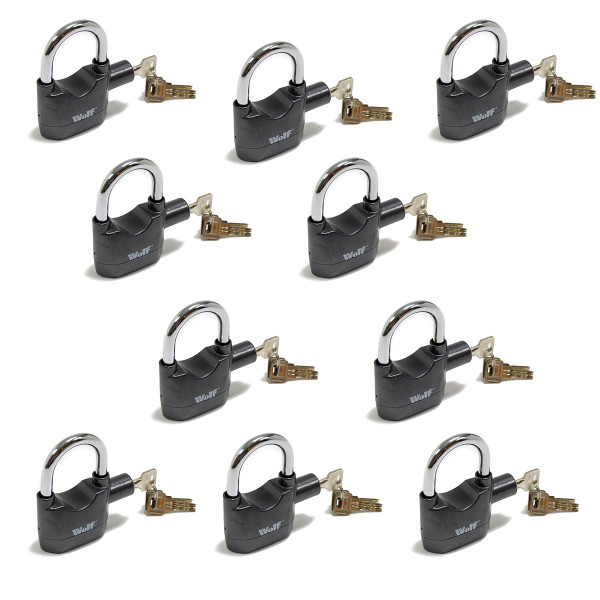 Wolf High Security Alarmed Padlocks - Pack of 10