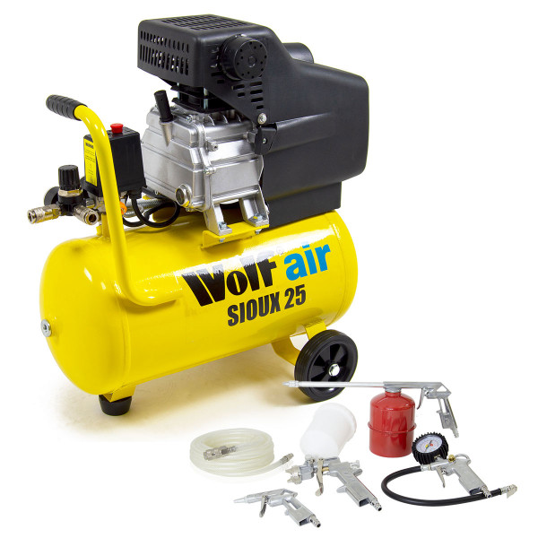 Wolf Sioux 25 Air Compressor with 5pc Spray Kit