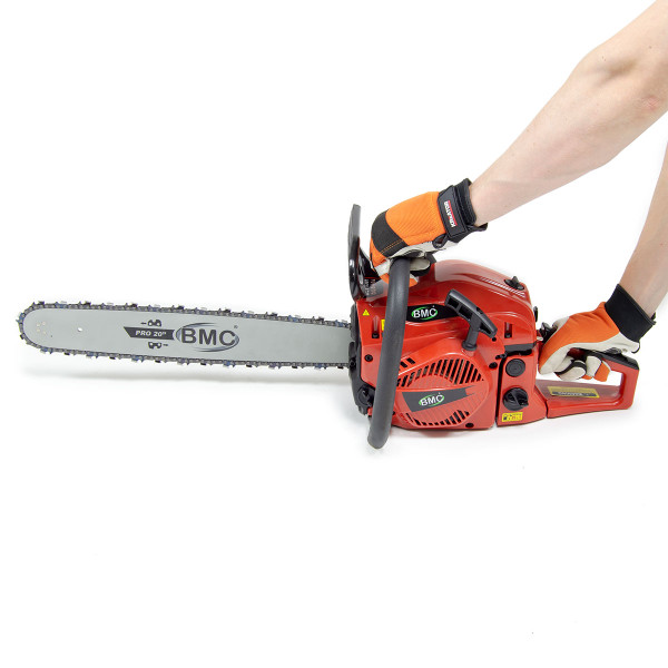 BMC 20'' Easy Start 55cc Chainsaw with 1 Ltr Chain Oil, 1 Ltr 2 Stroke Oil, Bag & Safety Helmet