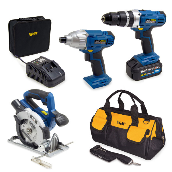 Wolf Pro 20v Cordless 7pc Power Tool Kit with Battery, Charger & Bag