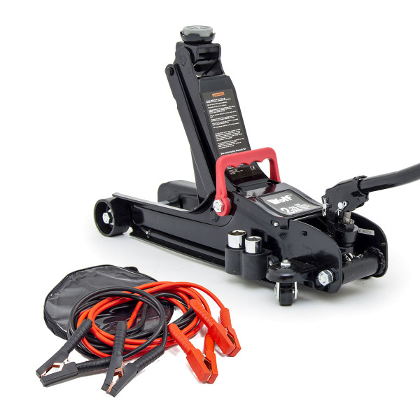 Wolf Black Trolley Jack with Jump Leads