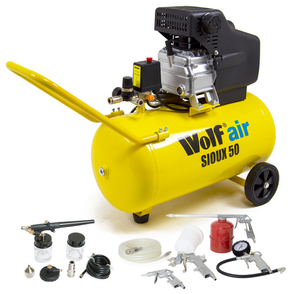Wolf Sioux 50 Air Compressor with 5pc Spray Kit & Airbrush Kit