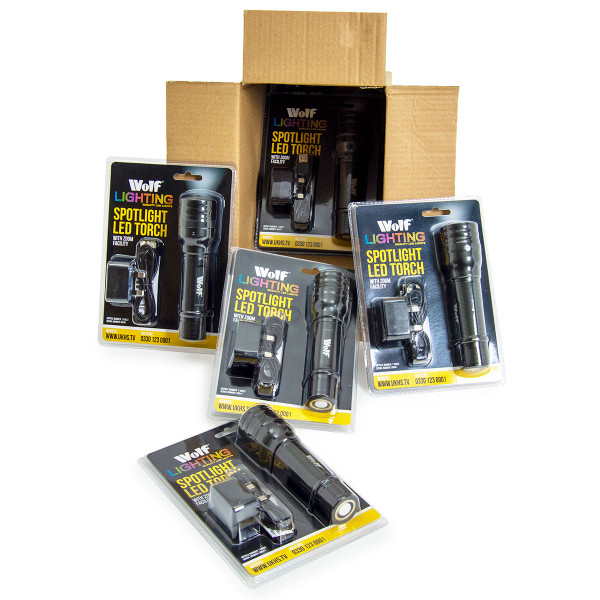 Wolf Navigator 'Spotlight' LED Torch Wholesale Pack 6pc
