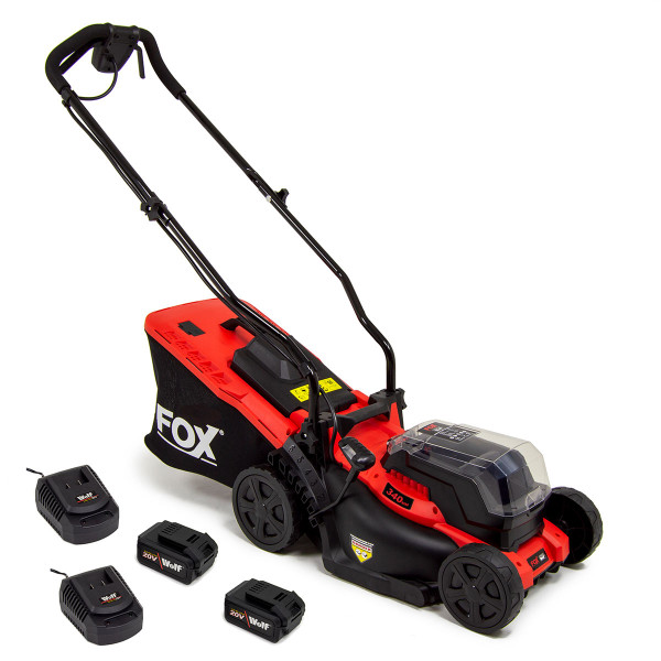 Fox 40V Cordless Package with Mower, Blower, Grass Trimmer, Hedge Trimmer, 2 Batteries & Chargers