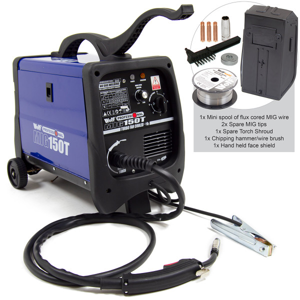 Wolf Professional Combination Gas / No Gas MIG 150T Welder with No Gas Kit