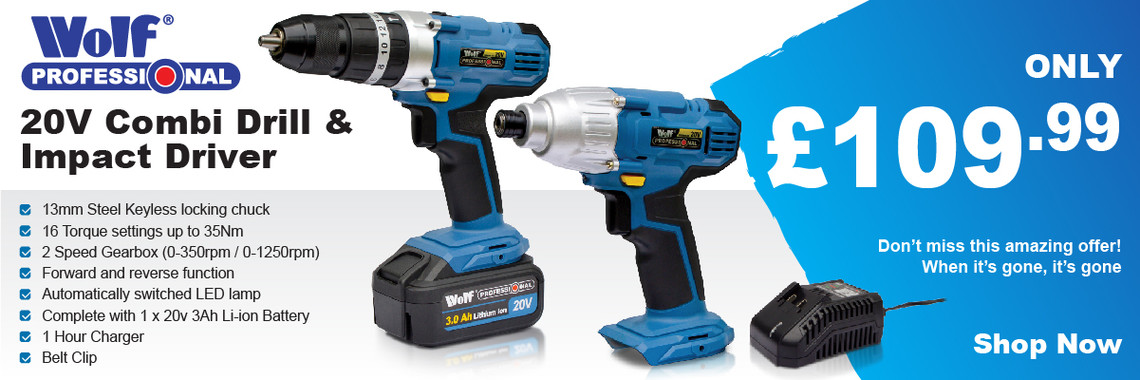 Wolf Professional 20v Combi Drill Impact-Driver Kit